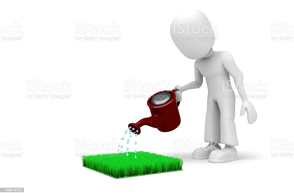 3D man watering the lawn royalty-free stock photo