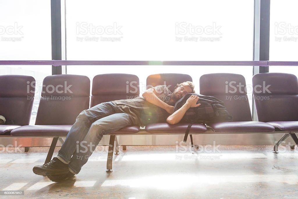 man wating at the airport stock photo