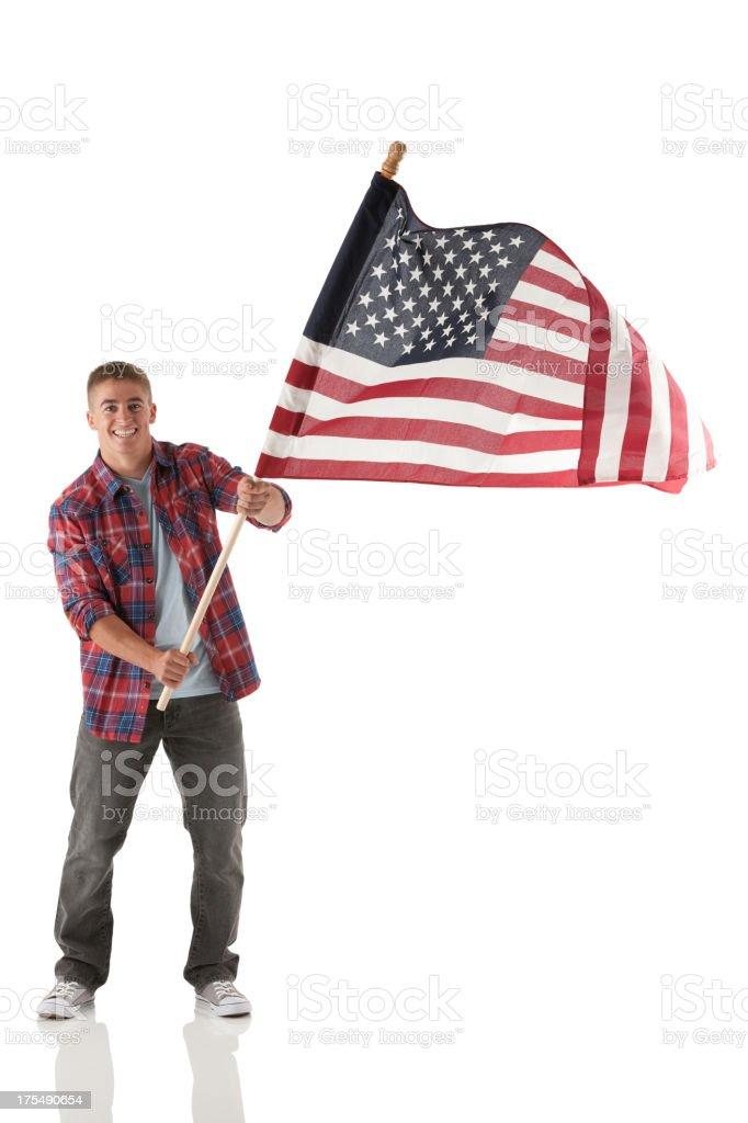 Man waving an American flag stock photo