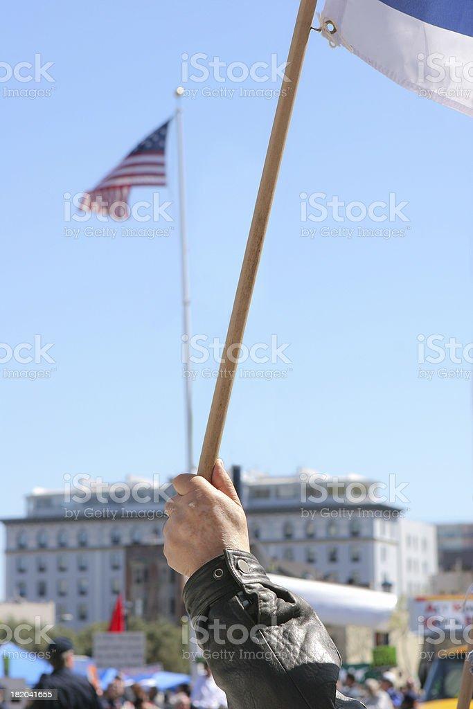 Man Waving  Flag stock photo