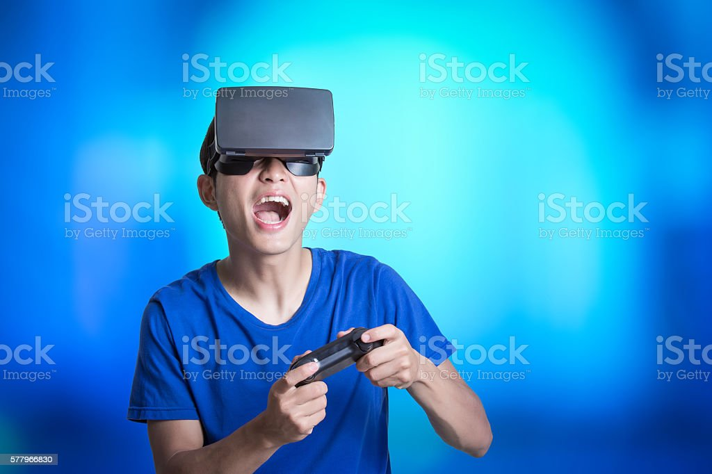 man wear virtual reality headset stock photo