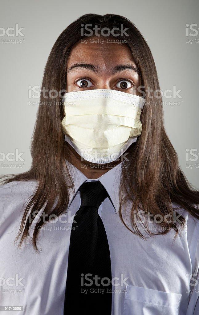 Man wearing a breathing mask stock photo