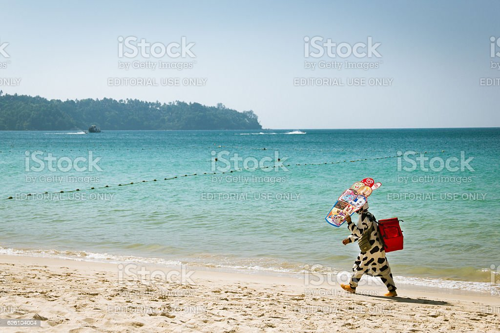 Man wearing a cow costume stock photo