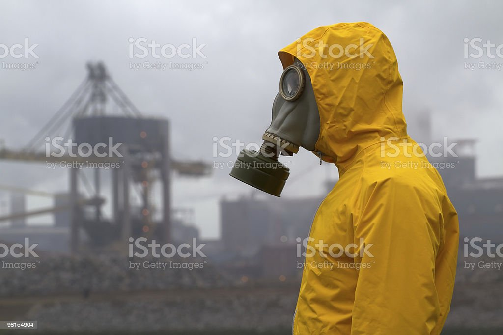 Man wearing a gas mask royalty-free stock photo