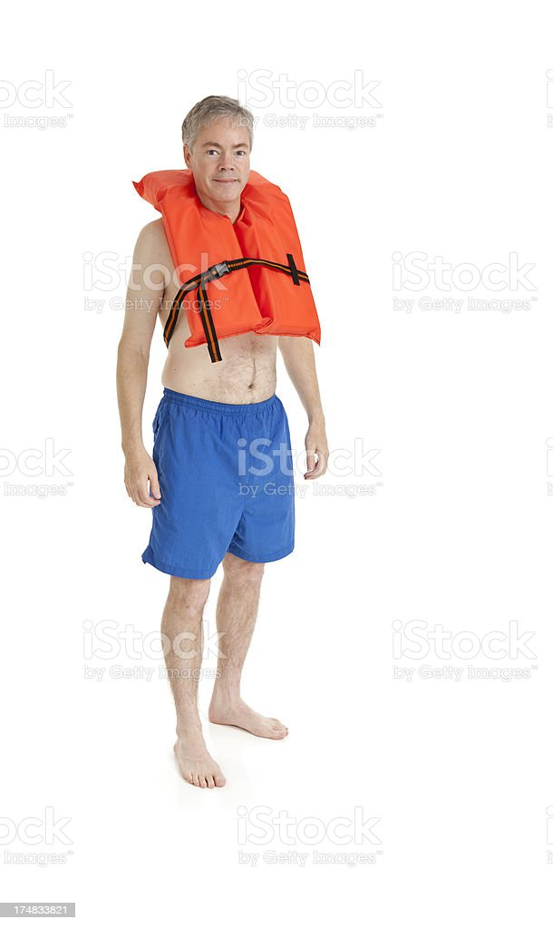 Man Wearing a Life Jacket royalty-free stock photo