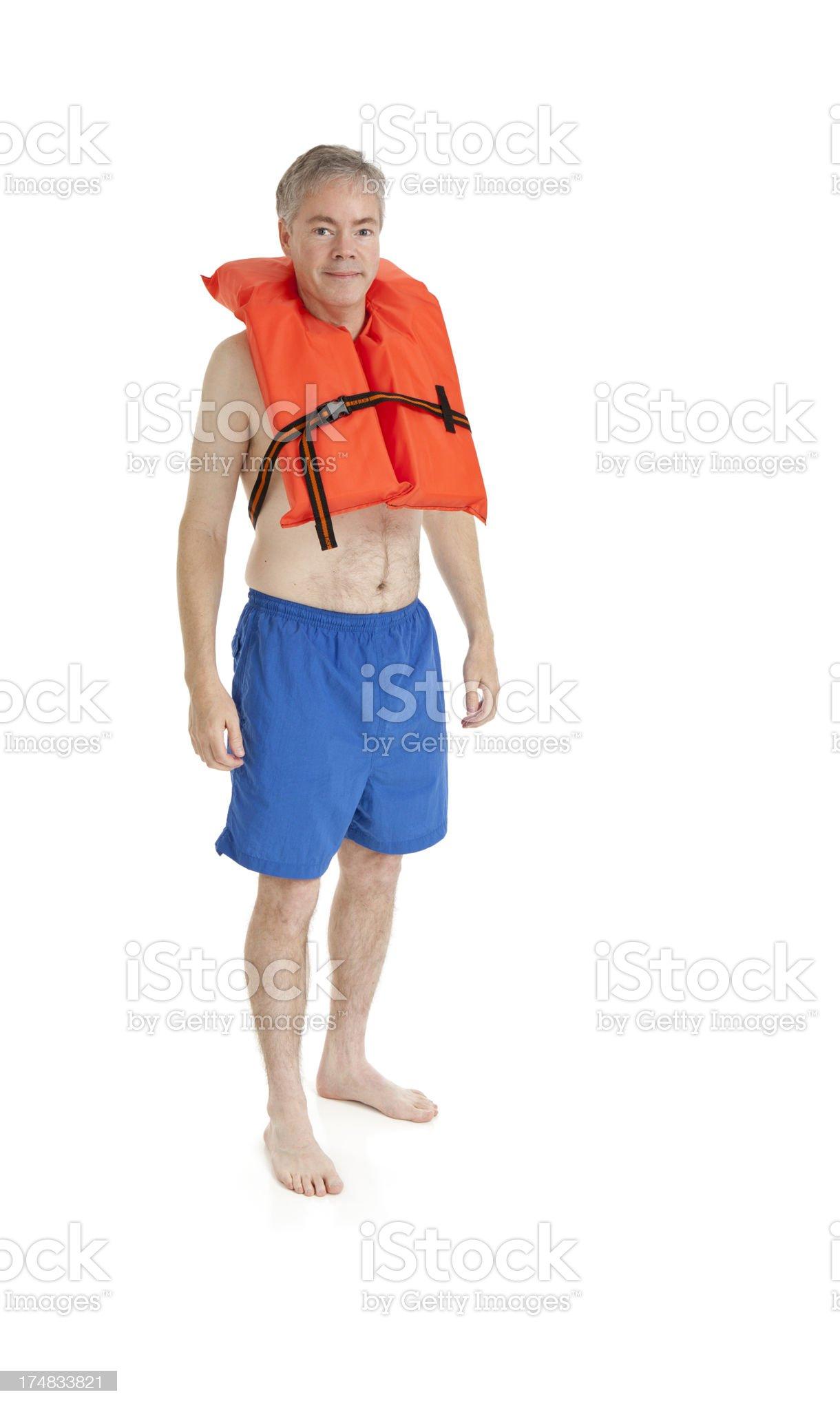 Man Wearing a Life Jacket royalty-free stock photo