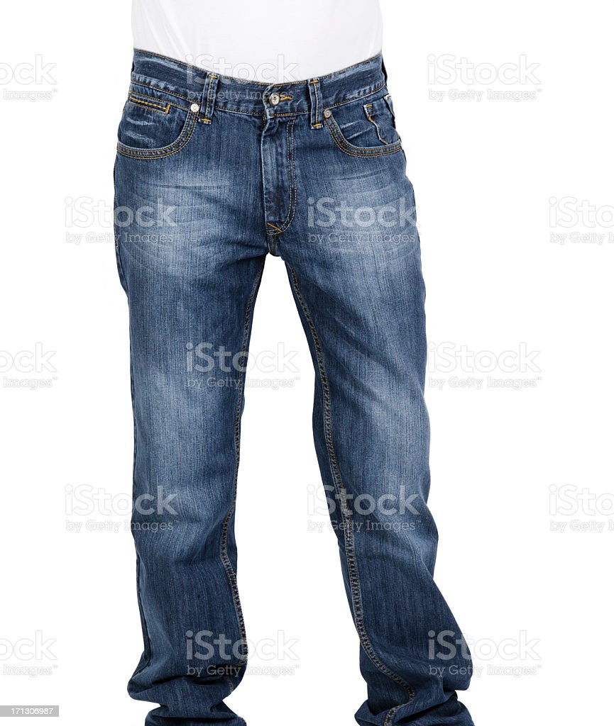 Man wearing a pair of jeans isolated on white background stock photo