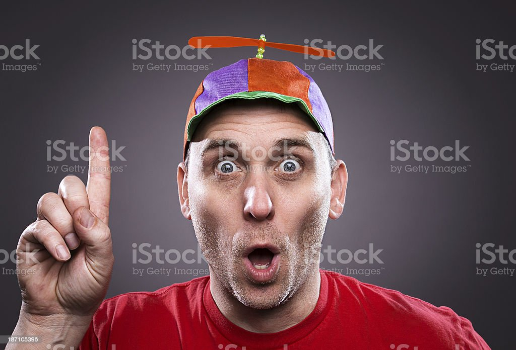 Man wearing a propeller beanie royalty-free stock photo