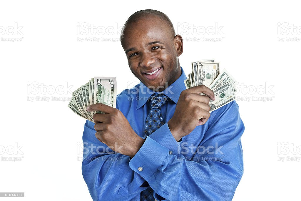 Man wearing a suit holding cash royalty-free stock photo