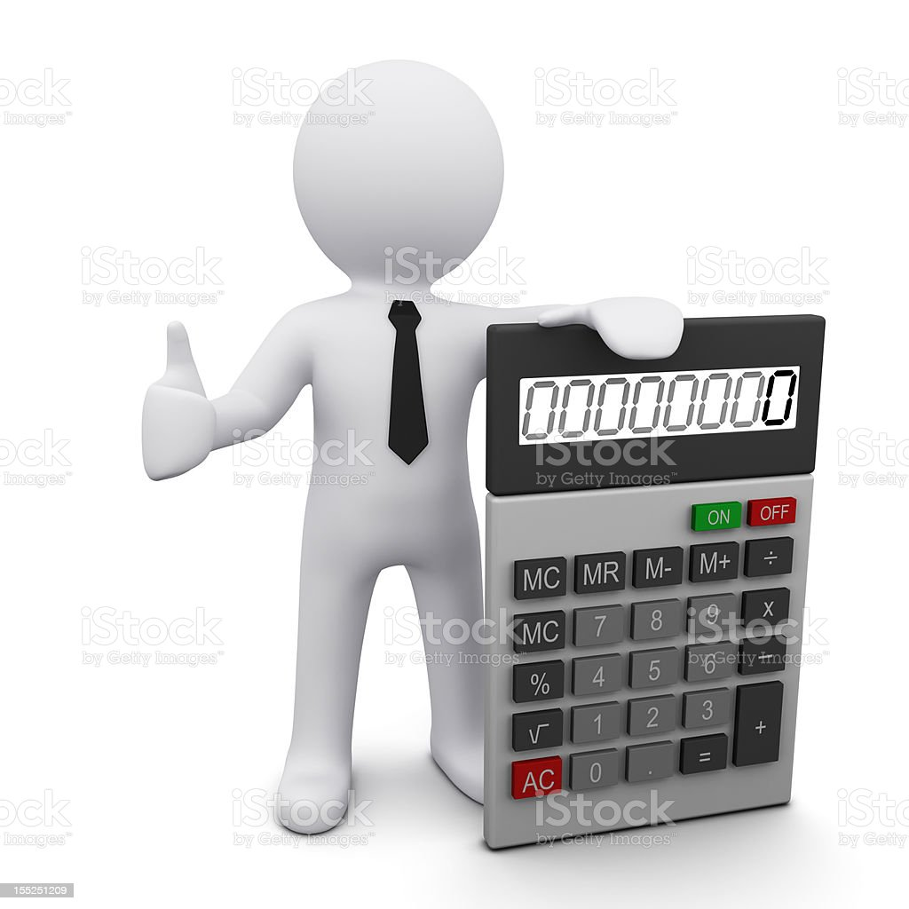 3D man wearing a tie holding calculator royalty-free stock photo