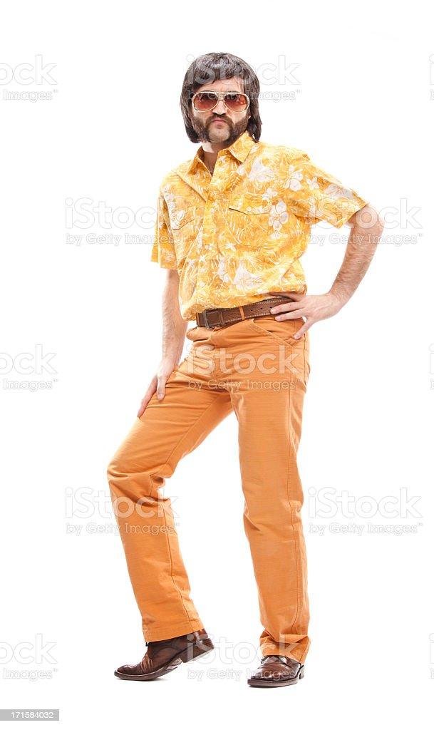 A man wearing a vintage 1970's orange Hawaiian shirt royalty-free stock photo