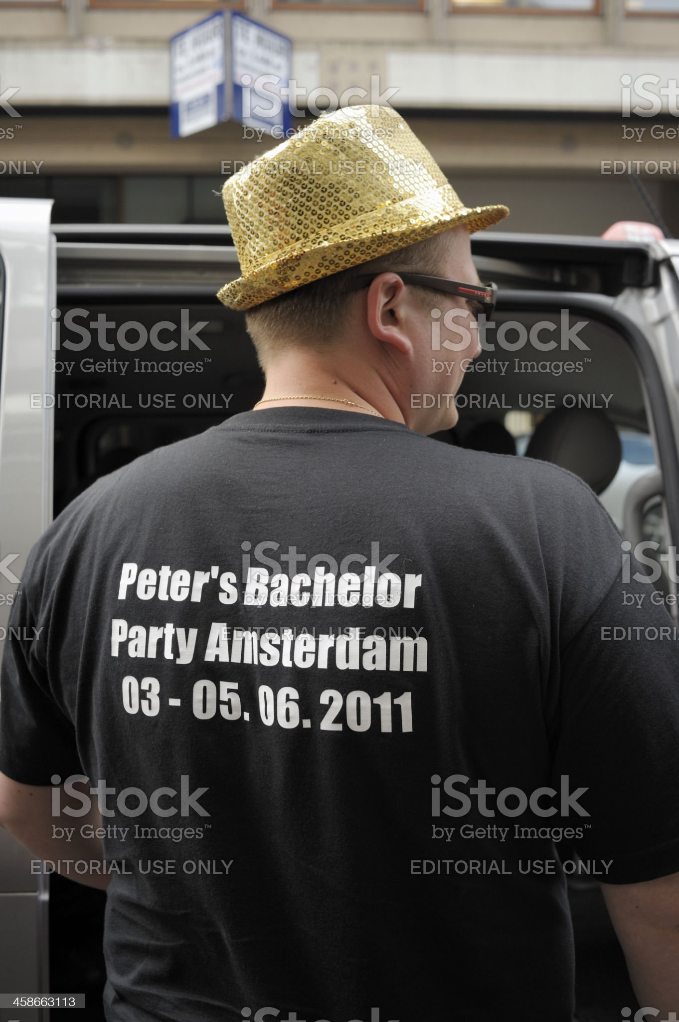 Man Wearing Bachelor Party T-Shirt in Amsterdam royalty-free stock photo
