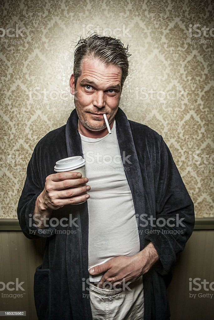 Man Wearing Bathrobe with Cigarette, Coffee, Hand in Pants 2 royalty-free stock photo