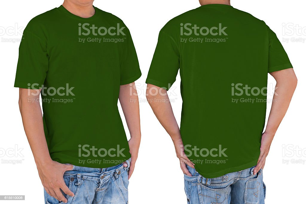 Man wearing blank dark green color t-shirt with clipping path stock photo