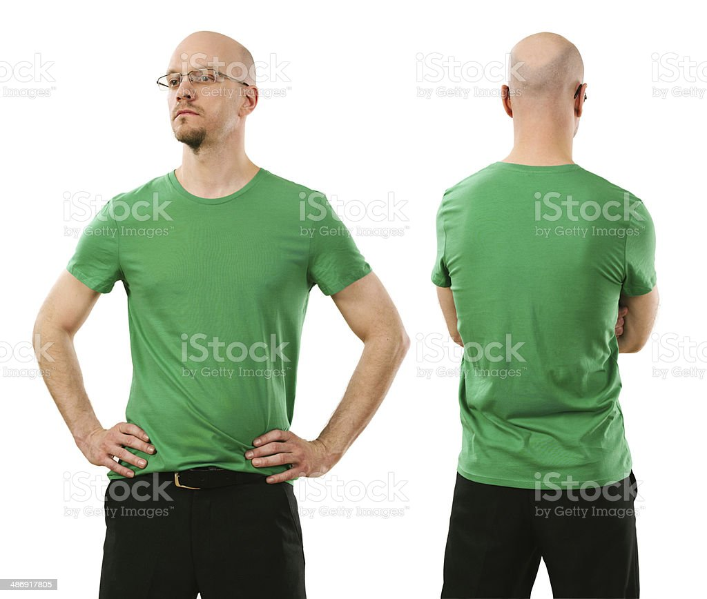 Man wearing blank green shirt stock photo