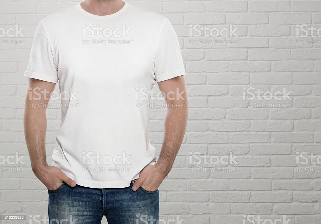 Man wearing blank t-shirt stock photo