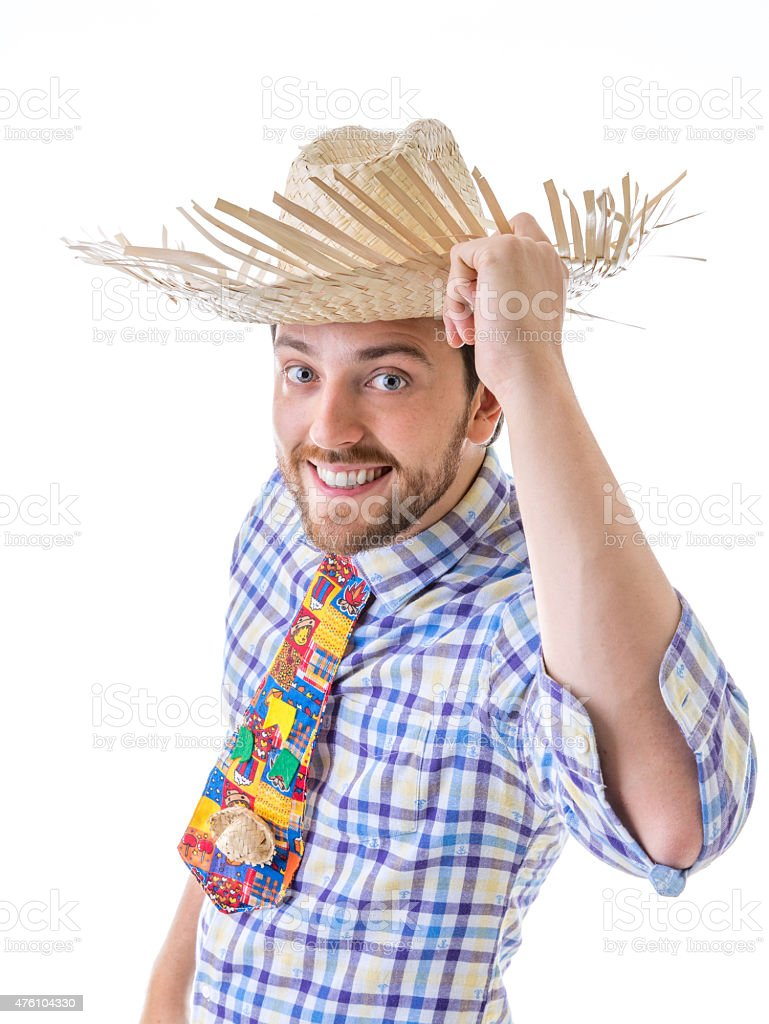 Man wearing 'Caipira' clothes for the Brazilian Festa Junina stock photo