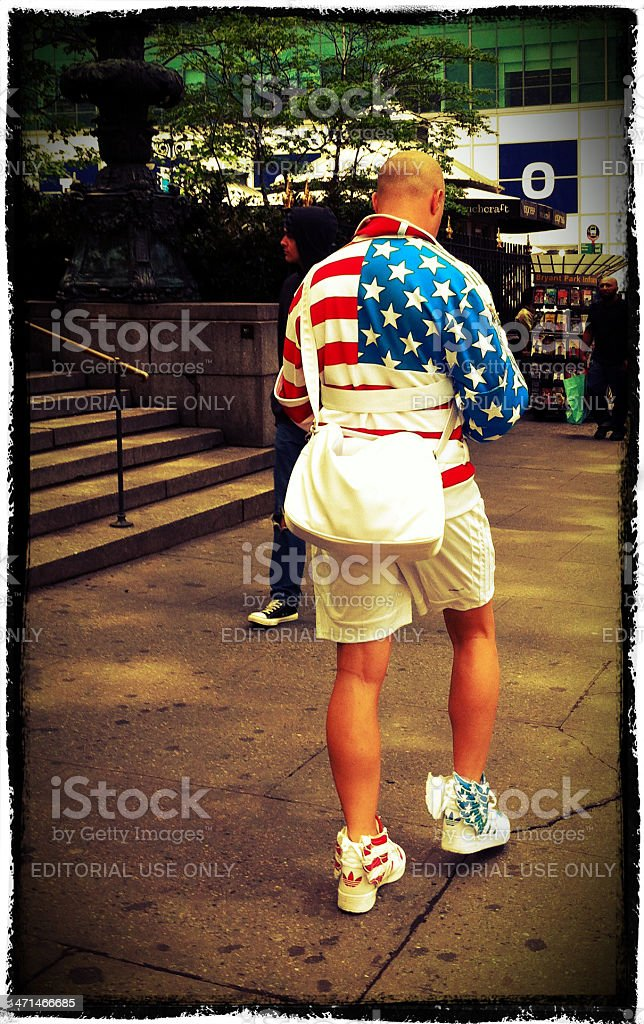 Man wearing clothes with American Flag print in New York stock photo