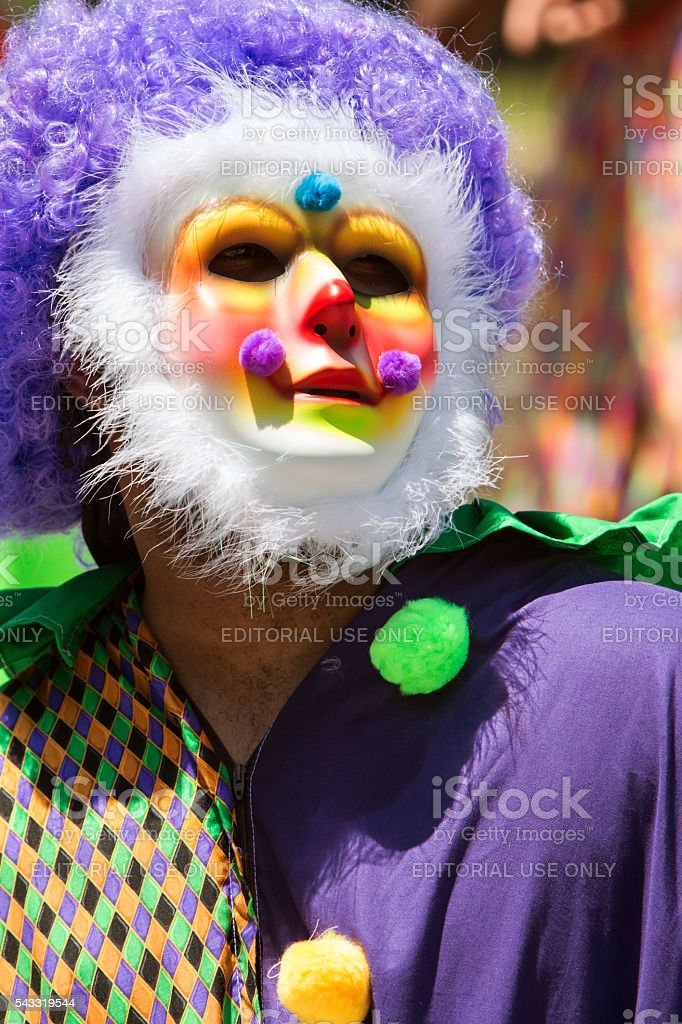 Man Wearing Colorful Costume And Mask Celebrates Caribbean Culture stock photo