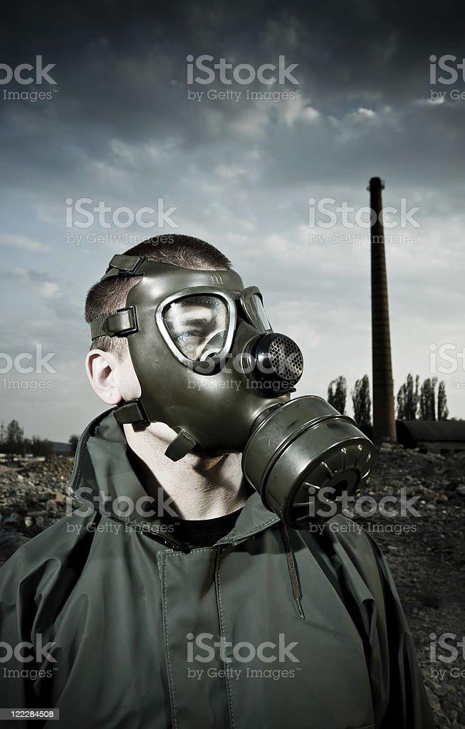 Man wearing gas mask royalty-free stock photo