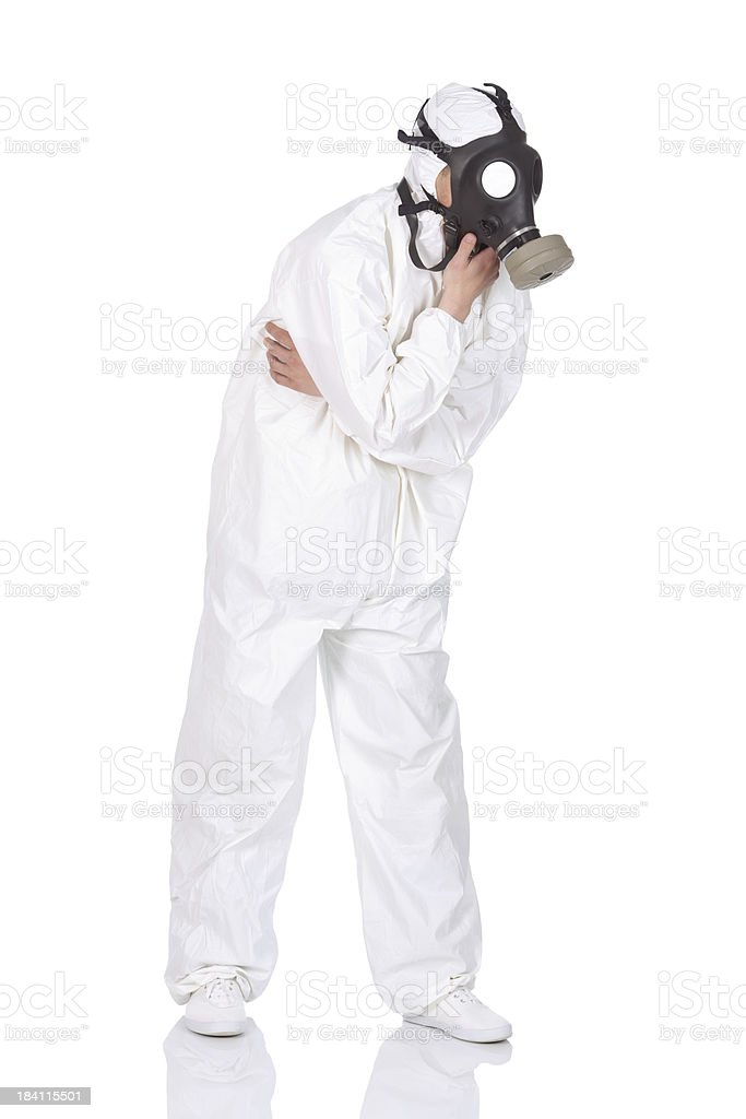 Man wearing gas mask stock photo