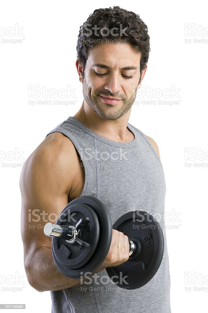 Man wearing grey tank lifting a weight royalty-free stock photo
