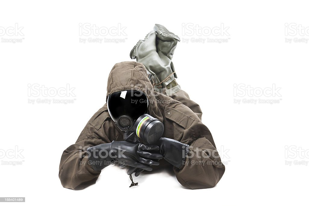 Man wearing Hazard Suit in a funny position royalty-free stock photo