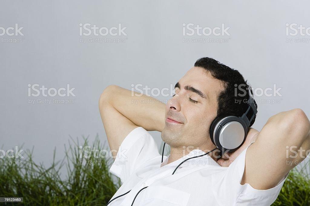 Man wearing headphones stock photo