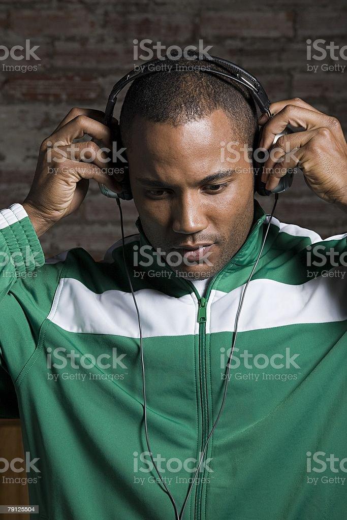Man wearing headphones royalty-free stock photo