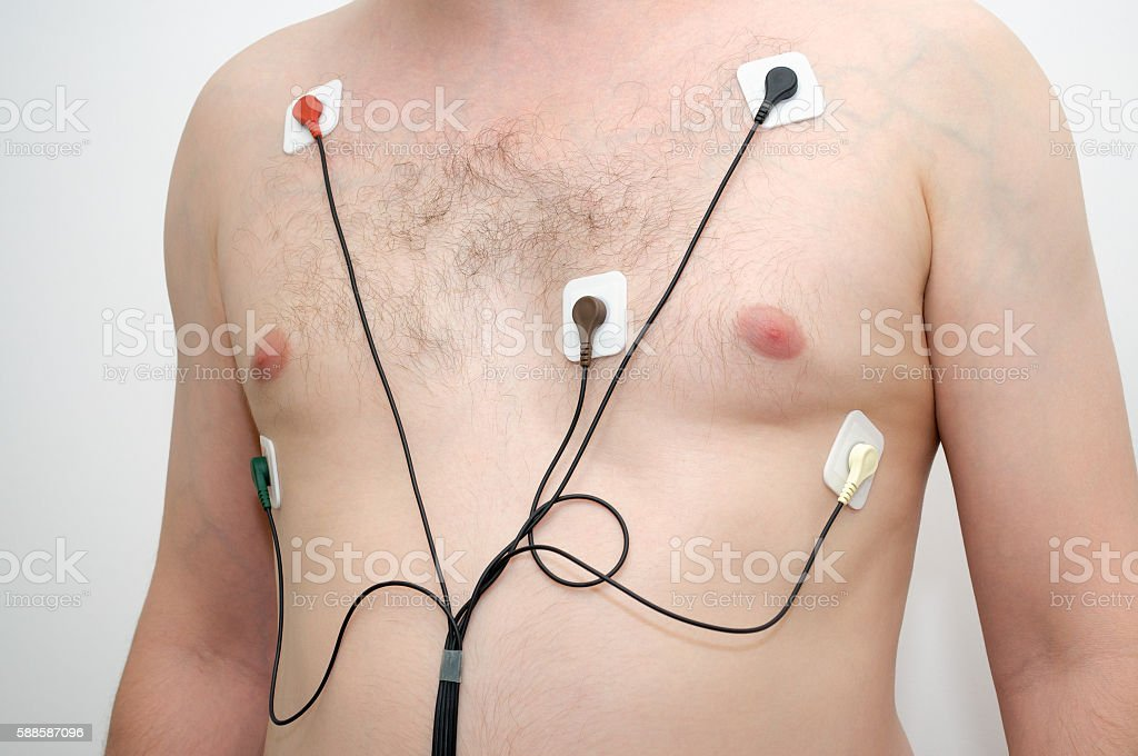 Man wearing holter monitor stock photo