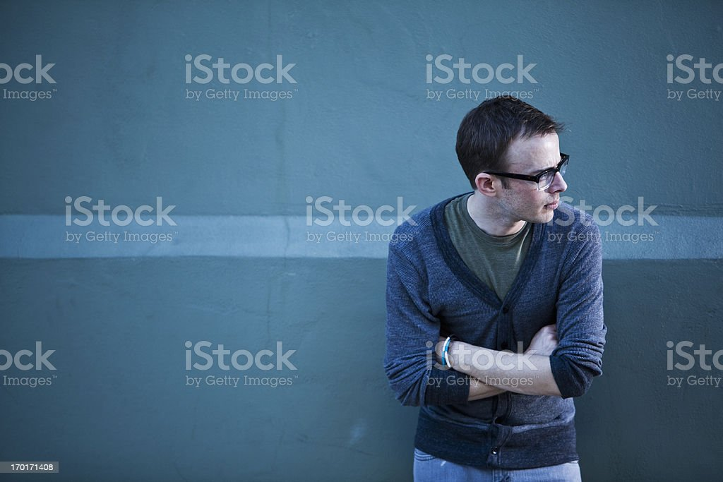 Man wearing horn rimmed glasses stock photo