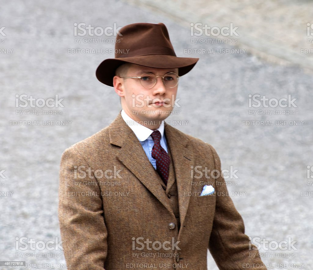 Man wearing old fashioned brown tweed clothes stock photo
