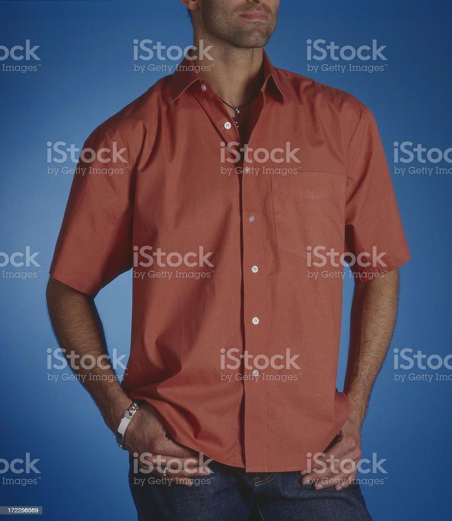 Man wearing orange shirt. royalty-free stock photo