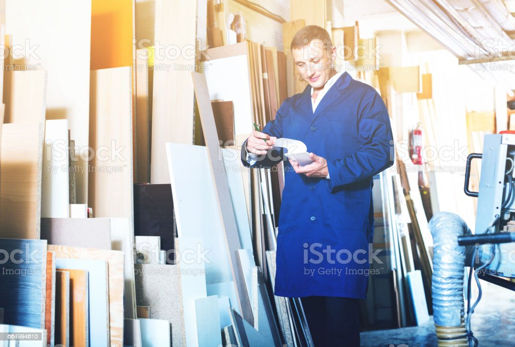 Man wearing protective workwear standing with plywood in store stock photo