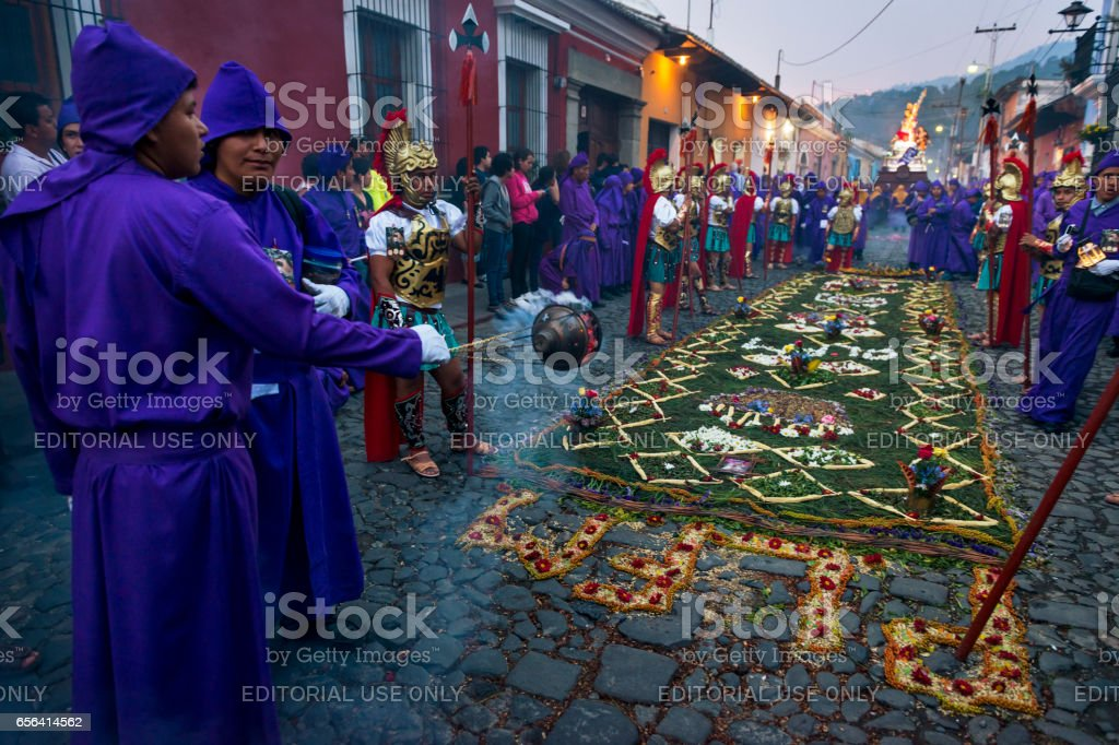 Man wearing purple robes and ancient Roman military clothes during the Easter celebrations, in the Holy Week, in Antigua, Guatemala stock photo