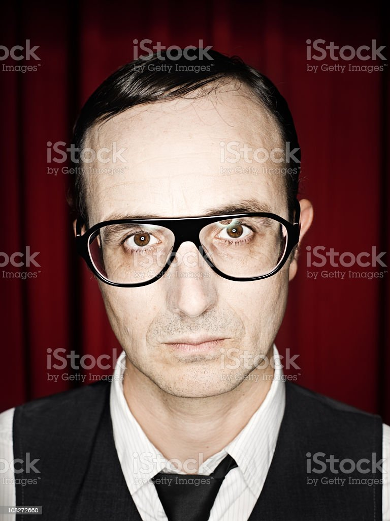Man Wearing Retro Glasses royalty-free stock photo