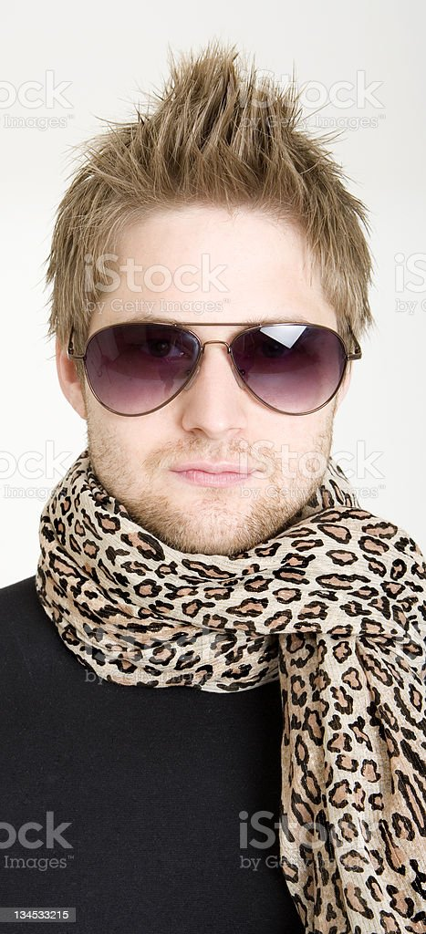 man wearing scarf and glasses royalty-free stock photo