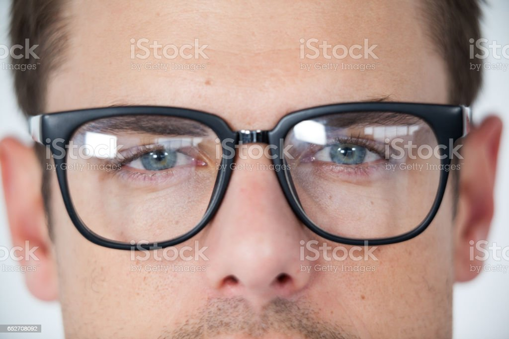 Man wearing spectacles stock photo