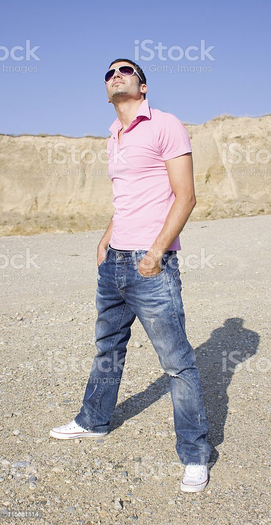 Man wearing sunglasses stock photo