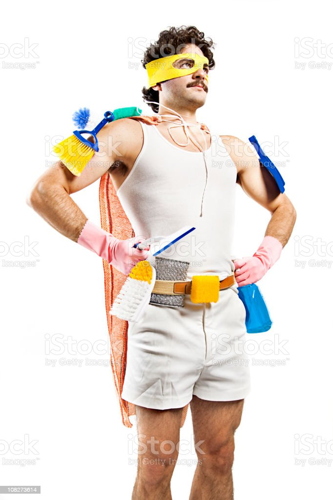 Man Wearing Superhero Mask and Cleaning Supplies with Cape stock photo