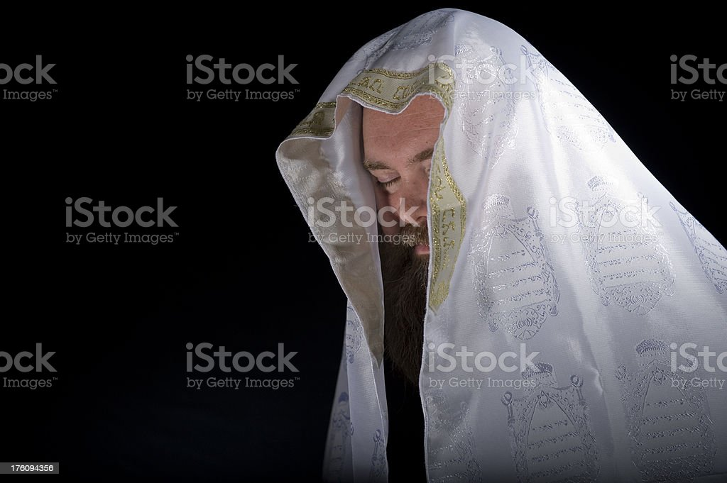 Man Wearing Tallit With Gold Crown stock photo