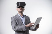 man wearing virtual reality headset