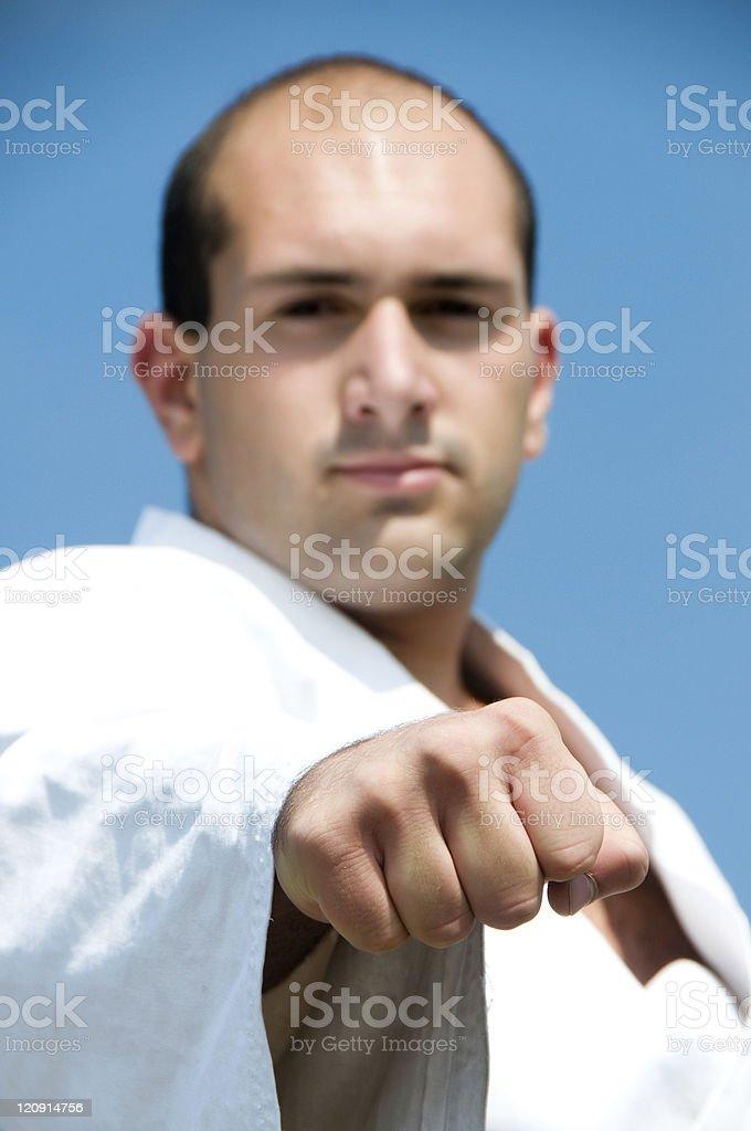 Man Wearing White Karate Suit royalty-free stock photo