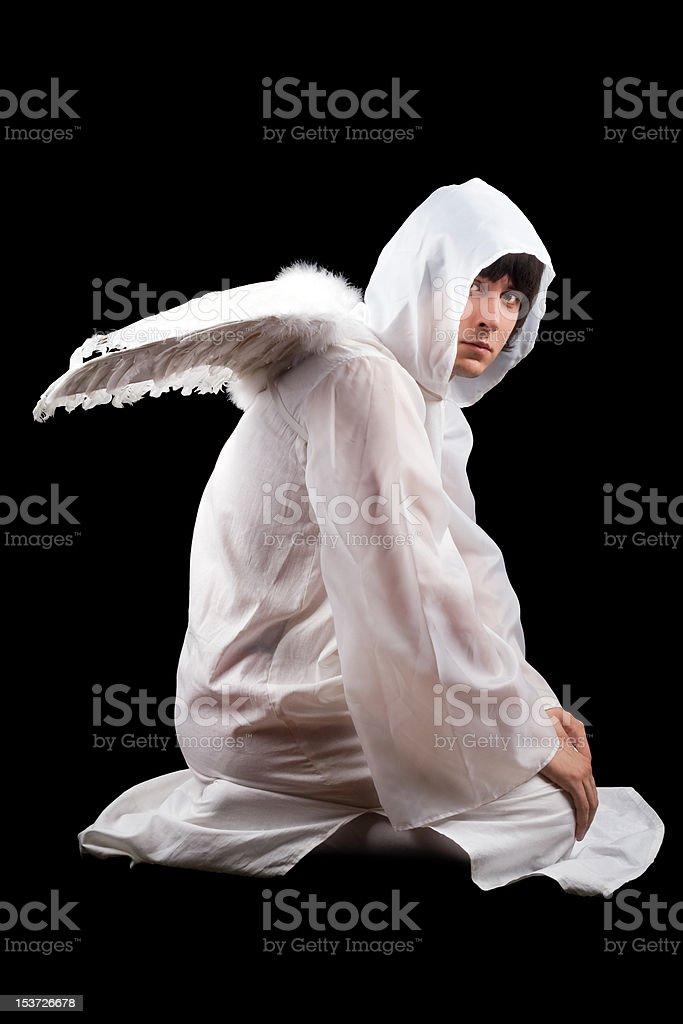 Man wearing white royalty-free stock photo