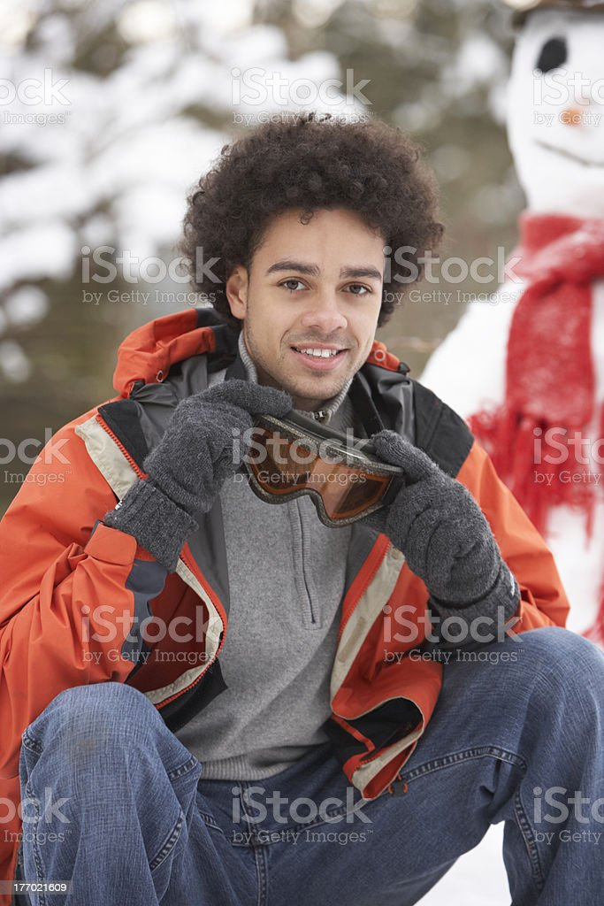 Man Wearing Winter Clothes In Snowy Landscape royalty-free stock photo