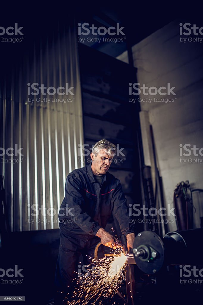 Man welder stock photo
