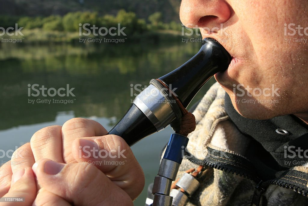 A man whistling for duck hunting stock photo