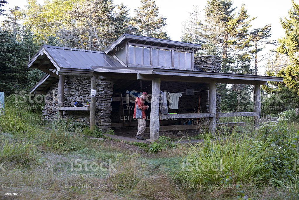 Backcountry shelter on Mount LeConte in Smoky Mountains stock photo