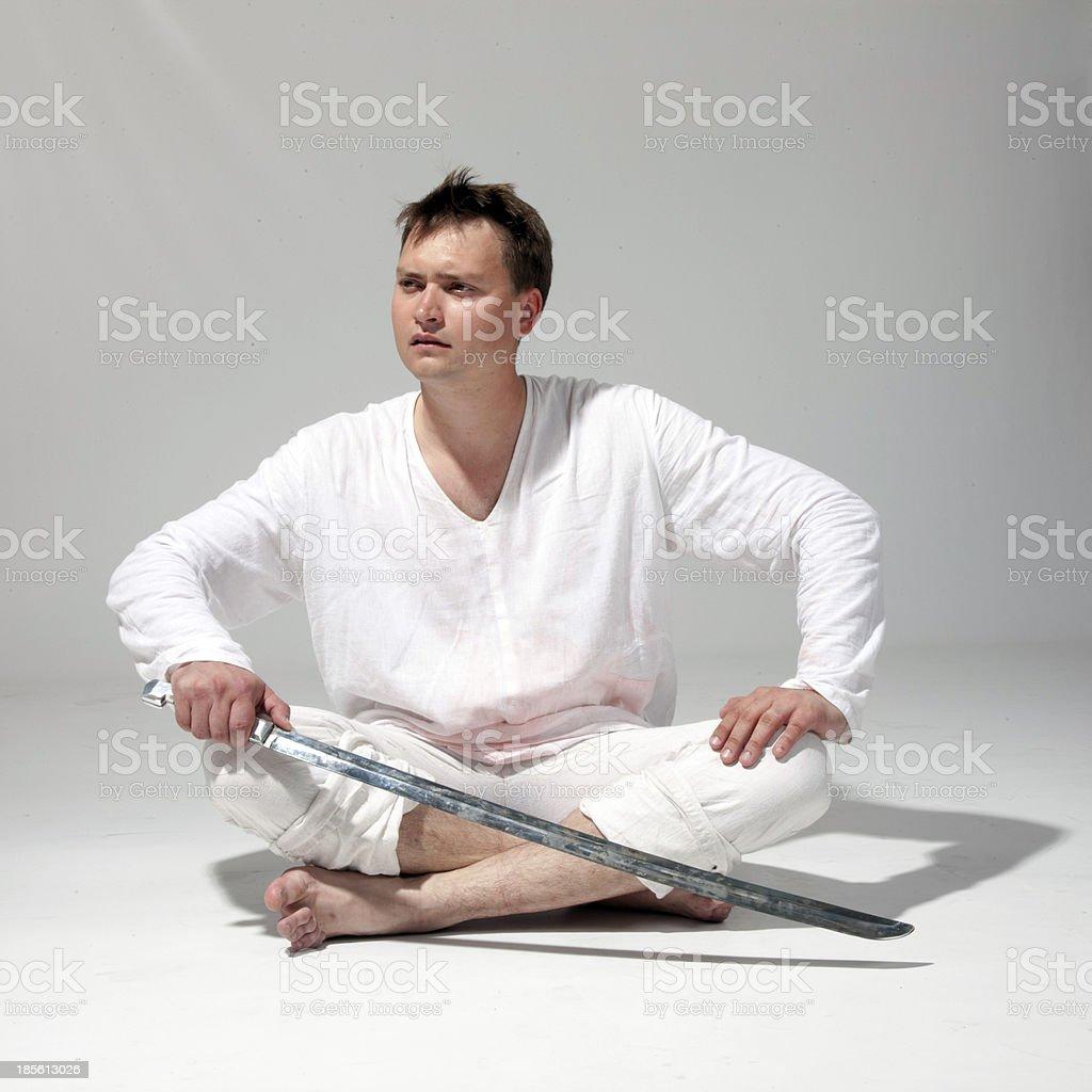 man wielding a sword. royalty-free stock photo