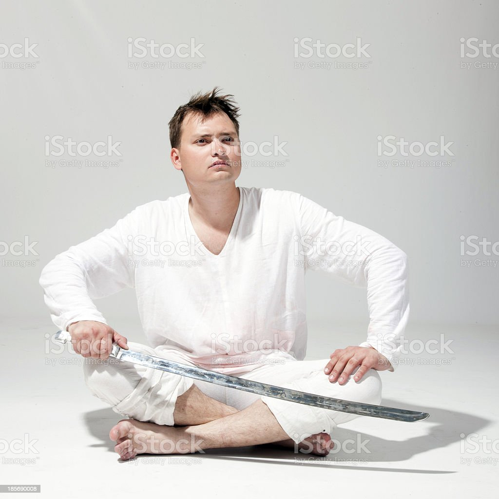man wielding a sword. royalty-free stock photo